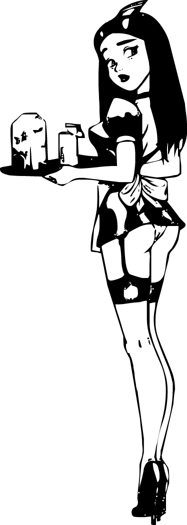 TenStickers. 性感女服务员墙贴纸. 女服务员墙壁贴花 - 运载命令盘子的一位性感的女服务员的例证。我们收集的商业墙贴的一部分。