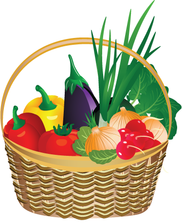 TenVinilo. Vinilo decorativo cesta de verduras. Decora tu cocina con esta colorida y sabrosa pegatina de alimentos de la huerta recién recogidos.