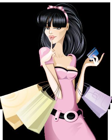 TenStickers. Sticker decoratie shoppen dame. Een leuke muursticker van een jonge elegante vrouw in een roze kleedje dat haar winkeltassen draagt terwijl ze haar creditcard vast heeft.