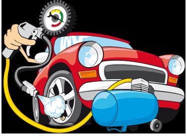 TenVinilo. Vinilo decorativo presión aire coche. Decora tu taller con esta divertida pegatina de un automóvil rojo en plena reparación, y así, dar un toque distinto al tu taller de reparación.