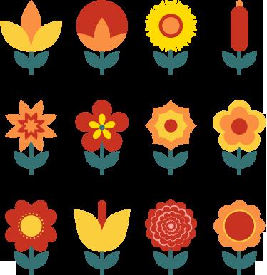 TenVinilo. Sticker adhesivos flores interruptor. Colección de doce pegatinas de colores cálidos para colocar en tus enchufes.*Las medidas indicadas son sobre el conjunto de dibujos.
