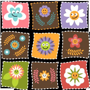 TENSTICKERS. キッズフローラルパッチスクエアステッカー. キッズウォールステッカー-スマイリーの花の顔が付いた正方形のパッチデカールのコレクション。子供のためのエリアを飾るのに最適です。さまざまなサイズで利用できます。