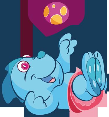 TenStickers. Vinil decorativo bebé dinossauro azul. Vinil decorativo com ilustração com bebé dinossauro azul com uma fralda e atirando uma bola de brincar. Adesivo de parede de decoração de interiores.