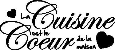 TenStickers. Stencil muro coeur de la maison. Ora puoi abbellire la tua cucina con questo adesivo monocolore in lingua francese che ci indica dove batte il vero cuore di una casa.