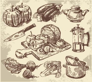 TenVinilo. Vinilo decorativo ilustraciones cocineras. Fotomural adhesivo con una colección de dibujos clásicos con pepinos, calabazas y rábanos entre otros.