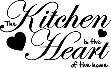 TenStickers. Heart of The Home Wall Sticker. Kitchen Stickers - 'The Kitchen is the heart of the home'. Great monochrome design for any household, perfect way to show off your love of cooking.