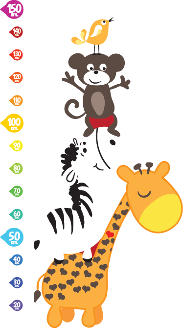 TenStickers. Animals Height Chart Wall Sticker. You can now measure your child's growth with this superb animal height chart wall sticker, perfect for decorating your child's bedroom or nursery. A giraffe, zebra, monkey and a bird!