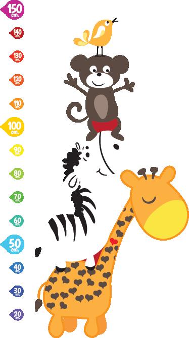 TenStickers. Wallstickers Højdemålervilde dyr. Du kan nu holde øje med dit barns vækst med denne fantastiske højdemåler med motiv af sjove vilde dyr. En giraf, zebra, abe og en lille fugl.