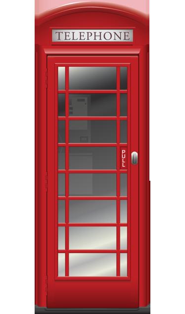TenStickers. Vinil decorativo cabine telefónica Londres. Vinil decorativo ilustrando a icónica cabine telefónica vermelha de Londres, em versão super realista e sinta-se como um verdadeiro inglês!