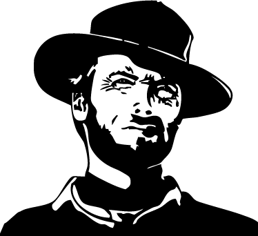 TenVinilo. Vinilo decorativo Clint Eastwood. Adhesivo con la figura de este grandísimo actor ganador de varios premios Oscar.
