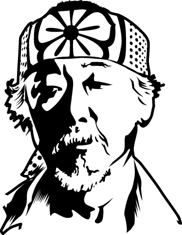 TenStickers. Mr Miyagi Karate Kid Movie Decal. This wall sticker comes from the famous movie The Karate Kid. The figure shown in the photo is Miyagi. Daniel LaRusso's master.