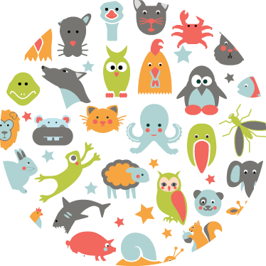 TenStickers. Kids Circle Animal Nursery Wall Mural. Kids Wall Stickers - Colourful illustration of various animals in a circular shape. Ideal for decorating areas for children.