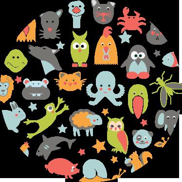 TenStickers. Sticker kind dieren cirkel. Deze ronde muursticker omvat verschillende dieren en is ideaal voor omgevingen met kleine kinderen. Ook voor ramen en auto's.