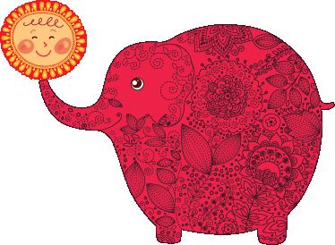 TenVinilo. Vinilo infantil elefante feliz con sol. Detalladísima ilustración en adhesivo de un enorme paquidermo rojo sosteniendo a nuestro astro en su trompa.