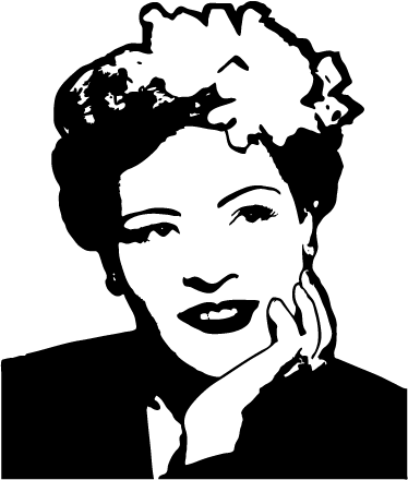 TenStickers. Billie Holiday Portrait Sticker. Portrait sticker with one of the most famous icons in the history of Jazz. For die-hard fans of this great American singer.