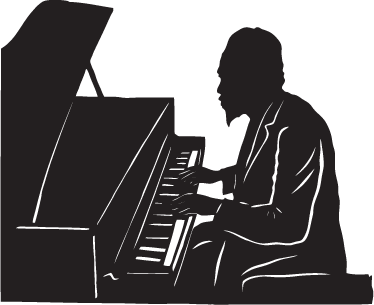 TenStickers. Thelonious Monk Wall Sticker. Wall Stickers - Silhouette outline of Thelonious Monk, American jazz pianist and composer. Ideal for jazz fans.