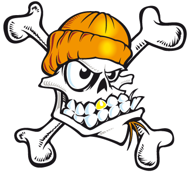 TenStickers. Skull Skater Wall Sticker. Room Stickers - Skull illustration design ideal for young fans of extreme sports.