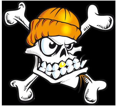 TENSTICKERS. スカルスケーターウォールステッカー. 部屋のステッカー - 極端なスポーツの若いファンに最適な頭蓋骨のイラストデザイン。