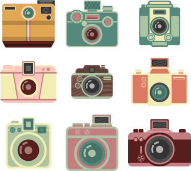 TenStickers. Vintage Camera Stickers. A brilliant set of nine vintage cameras to decorate any space at home or work! Original vintage decals from our collection of retro wall stickers.