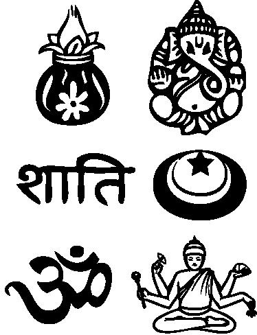 TenVinilo. Sticker adhesivos símbolos hindús. Medida docena de pegatinas de un solo color con característica grafías de esta religión asiática.