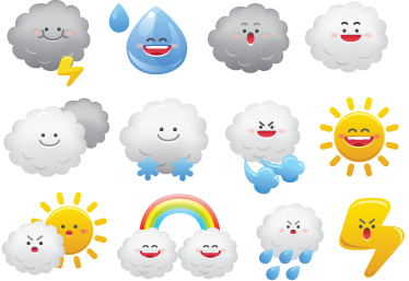 TenStickers. Weather Kids Stickers. Collection of fun stickers related to the world of weather! Perfect to decorate your child's room.