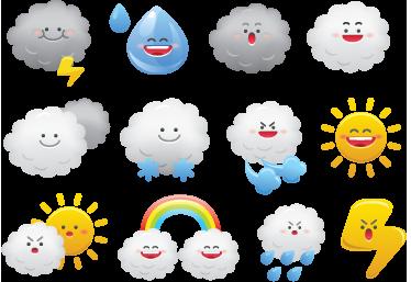 TenVinilo. Sticker infantil meteorología. Colección de divertidas pegatinas relacionadas con el mundo del tiempo.*Las medidas indicadas son sobre conjunto de dibujos.