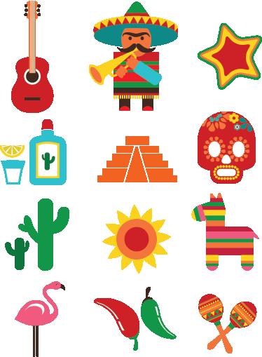 TENSTICKERS. メキシコデカールコレクション. デカール-メキシコをテーマにしたベクターデザインのコレクション。楽しく、活気があり、カラフルです。さまざまなサイズで利用できます。