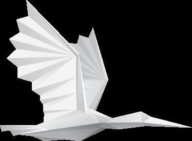 TENSTICKERS. 紙鳥ウォールステッカー. ウォールステッカー-飛行中の紙折り紙の鳥のオリジナルイラスト。さまざまなサイズで利用できます。