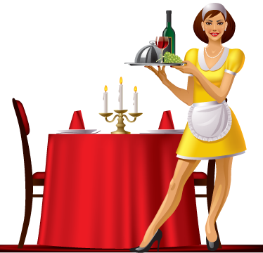 TenStickers. Luxury Dinner Waitress Sticker. A brilliant dinner wall sticker illustrating a waitress holding a food tray in a luxurious restaurant.