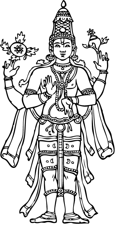 TenStickers. 비슈누 힌두교 신 벽 스티커. 힌두교에서 두 번째 신을 나타내는 부처 벽 스티커의 매우 상세한 디자인.
