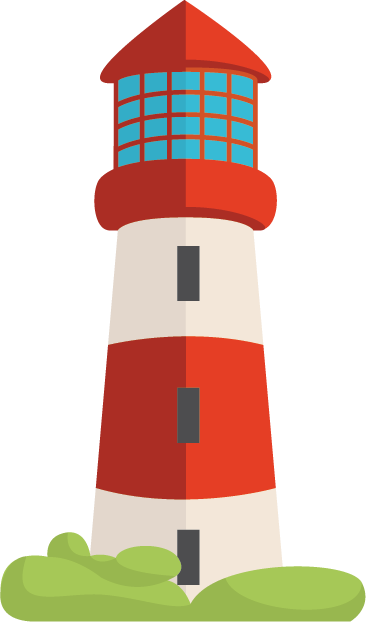 TenStickers. Sticker enfant phare marin. Stickers mural pour enfant représentant le dessin d'un phare marin rouge et blanc.
