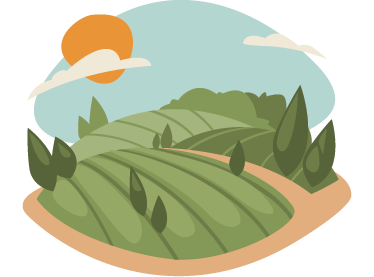 TenStickers. Harvest Field Wall Sticker. Wall Stickers - Illustration of a landscape filled with crops, hills, trees and rocks. Available in various sizes.