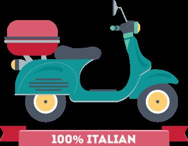"""TenStickers. Sticker decorativo due ruote italiane. Adesivo murale che raffigura la mitica Vespa accompagnata dal testo """"100% italiana"""". Una decorazione ideale per le pareti della camera da letto."""
