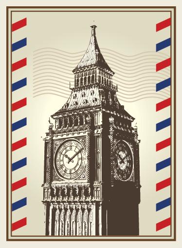 TenVinilo. Vinilo decorativo postal Big Ben Londres. Cartel adhesivo con aire epistolar y una detallada ilustración de uno de los edificios más famosos de London.