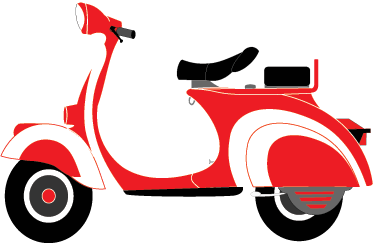 TenStickers. Red Vespa Decorative Sticker. Spectacular original sticker of this classic Italian motorcycle. Perfect for those that love this motorcycle!