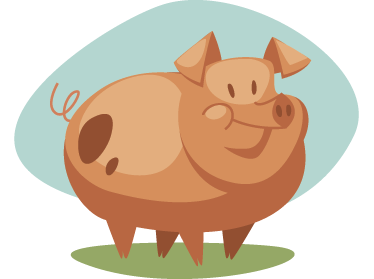 TenStickers. Muursticker kind varken. Deze muursticker omtrent een varken in een rond uiterlijk. Met vrolijke kleuren is deze sticker ideaal ter wanddecoratie voor kinderen.