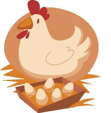 TenVinilo. Vinilo infantil gallina y huevos. Pegatina con una ilustración de aire retro de este ave de corral ponedora.