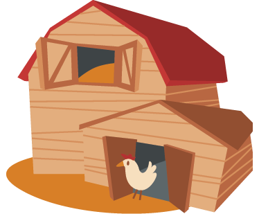 TenStickers. Kids Chicken Barn Wall Sticker. Kids Wall Stickers -  Colour illustration of a barn with a chicken in the entrance