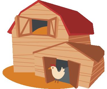 Sticker Enfant Poulailler Et Poule