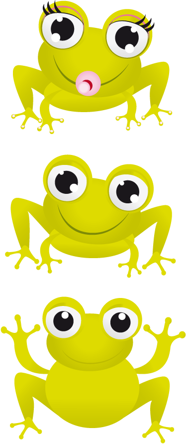 TenStickers. Kids Stickers Three Frogs. A lovely animal wall sticker illustrating three bubbly eyed green frogs! Great frog wall sticker collection to decorate your children's bedroom. Ideal design for the little ones.