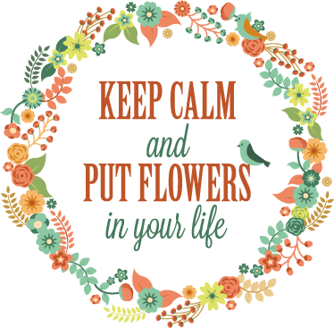 "TenStickers. Floral Motivational Wall Sticker. Wall Stickers - Colourful floral design with the text ""Keep calm and put flowers in your life"". Available in various sizes."