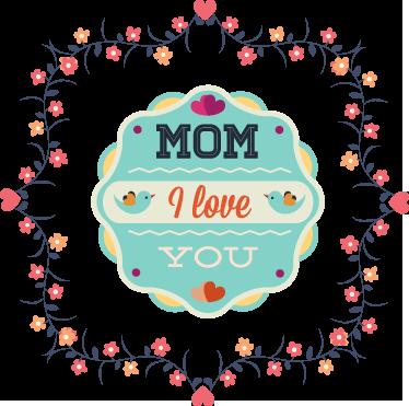 TenVinilo. Vinilo decorativo mom I love you. Elegante diseño adhesivo estilo retro con un texto en inglés conmemorando el día de la madre.