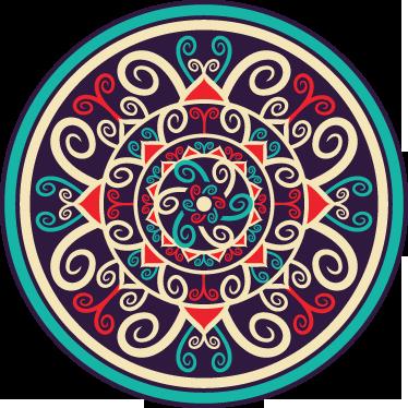 TenStickers. Sticker kleurrijke mandala. Een leuke kleurrijke muursticker voor het opfleuren van de saaie muren in je woning! Bepaal zelf de gewenste grootte voor deze wanddecoratie.