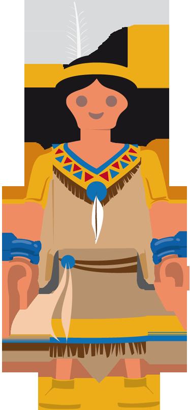 TenVinilo. Vinilo infantil playmobil india. Divertido adhesivo para niños con este clásico juguete de toda la vida disfrazado de apache realizado por VIRGUIS.
