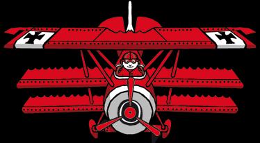 TenStickers. 붉은 남작 만화 아이 스티커. 이 복엽 비행기 데칼로 자녀의 방을 장식하십시오! 빨간 벽 스티커 컬렉션의 디자인. 50 가지 색상으로 제공됩니다.