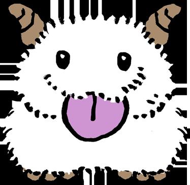TenStickers. Adesivo cameretta palla di pelo. Sticker decorativo che raffigura una simpatica creatura con corna sulla testa e una folta pelliccia bianca. Un disegno originale di Pierino Gallucci.
