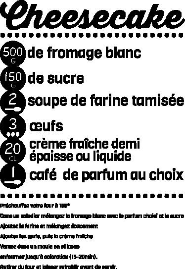 TenVinilo. Vinilo decorativo receta cheesecake. Original diseño tipográfico en francés. Adhesivo monocolor para preparar un deliciosa pastel de queso.
