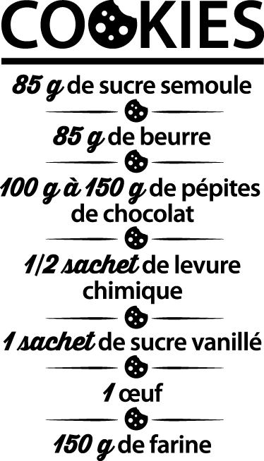 TenVinilo. Vinilo decorativo receta cookies. Texto en francés en adhesivo con un detallado listado de ingredientes básicos para preparar una deliciosas galletas.