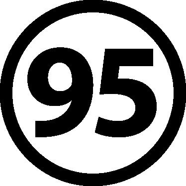 TenStickers. Ongelood 95 Autosticker. Plaats deze eenvoudige, maar handigeautostickerop de benzinedop om jezelf eraan te herinneren dat er ongelood 95 in de auto moet.
