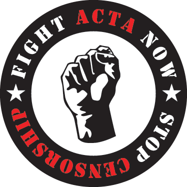 TenStickers. Fight ACTA Laptop Decal. This laptop sticker illustrates a logo with the text 'Fight ACTA Now, Stop Censorship' and a clenched fist in the middle.